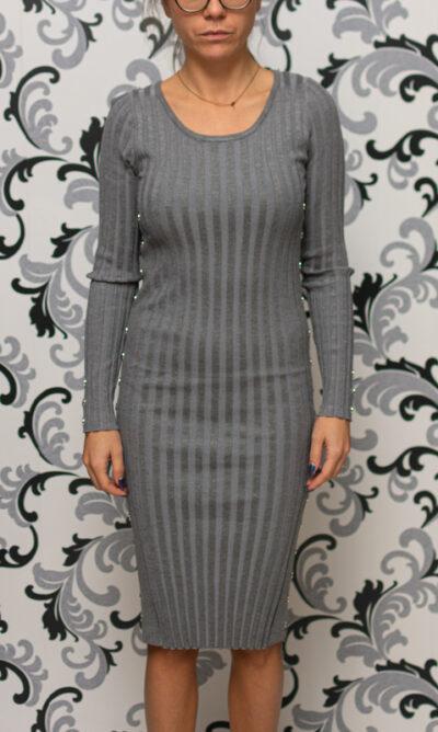 Сива плетена рокля