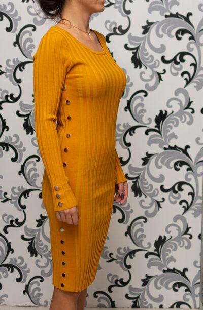 Плетена рокля с капси - жълта 1