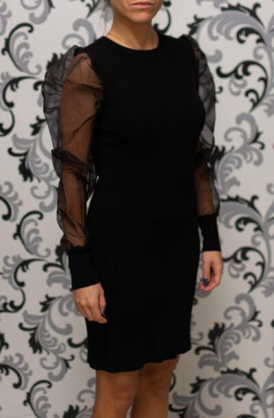 Плетена рокля с прозрачен ръкав