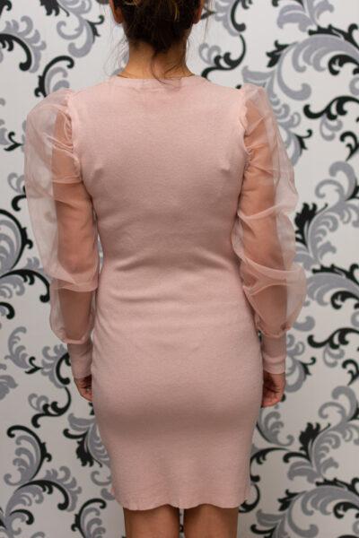 Розова рокля с прозрачен ръкав