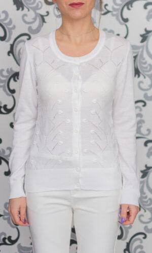 Бяла жилетка - фино плетиво