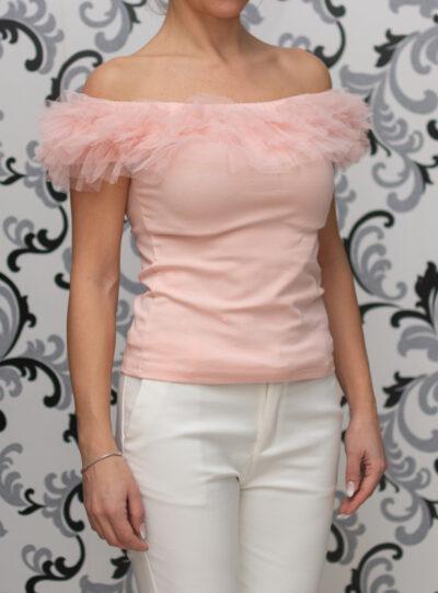 Розова блуза с къдри