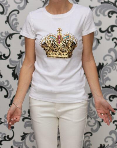 Бяла дамска тениска