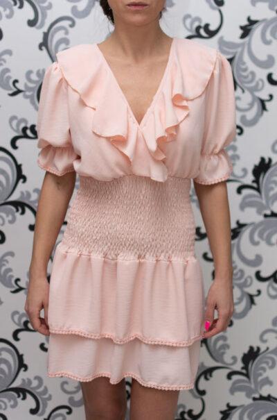 Розова дамска рокля с къс ръкав