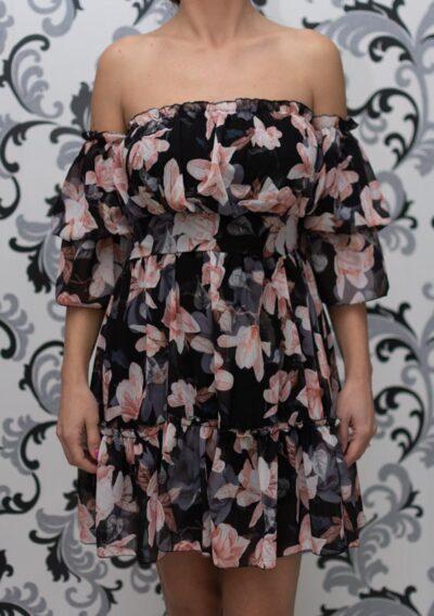 Черна рокля на цветя