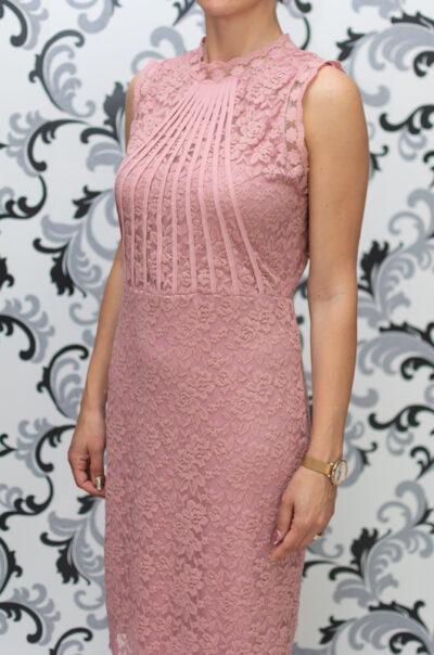 Дамска дантелена рокля - розова 2