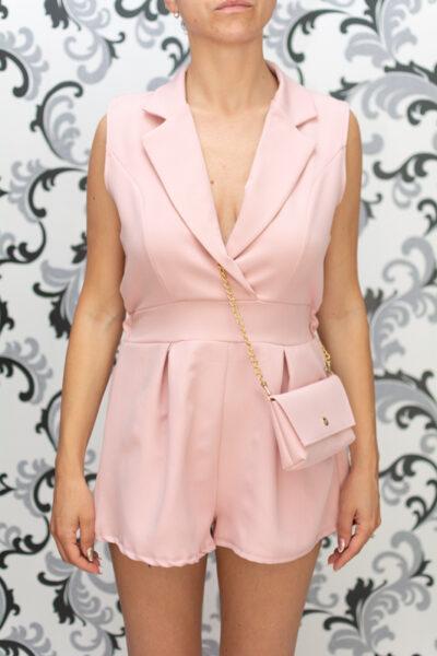 Дамски къс гащеризон с чанта- розов 1