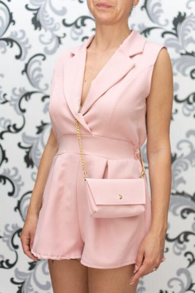 Дамски къс гащеризон с чанта- розов 2
