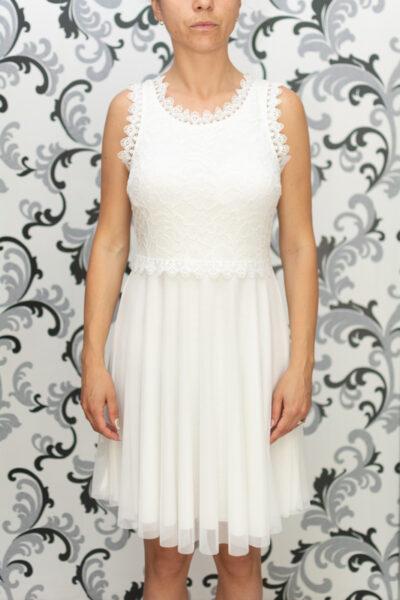 Дамска разкроена рокля с дантела - бяла 2