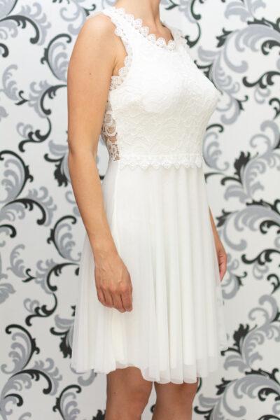 Дамска разкроена рокля с дантела - бяла 3