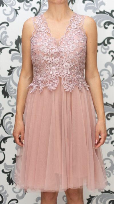 Дамска рокля с тюл и дантела - пепелно розово 2