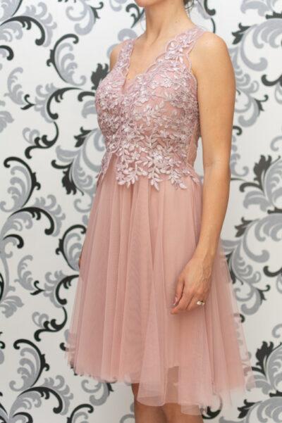 Дамска рокля с тюл и дантела - пепелно розово 1