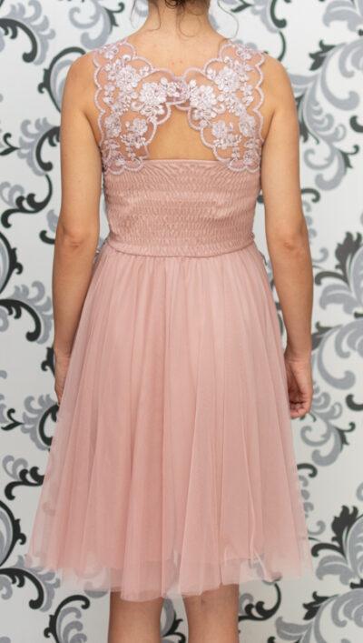 Дамска рокля с тюл и дантела - пепелно розово 4