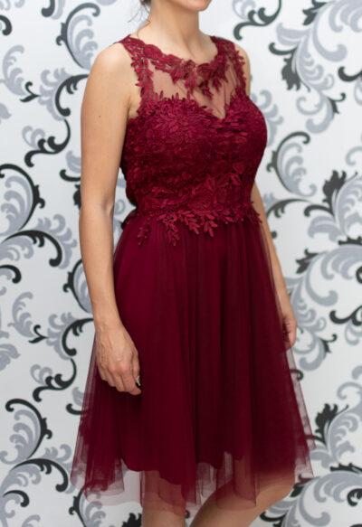 Дамска рокля с тюл и дантела - бордо 1