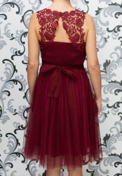 Дамска рокля с тюл и дантела - бордо 3