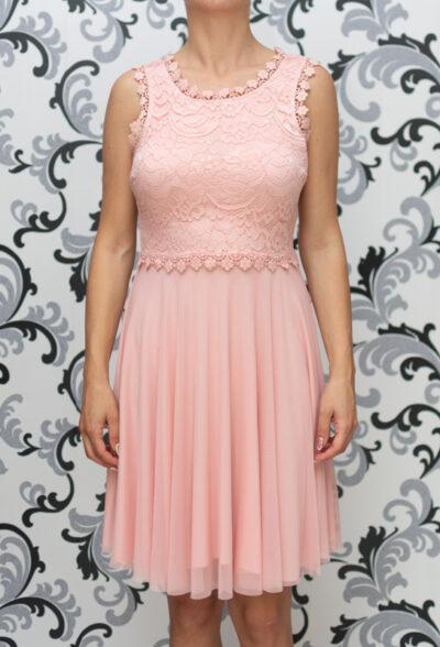 Дамска разкроена рокля с дантела - розова 3