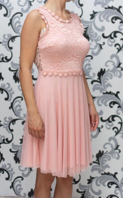 Дамска разкроена рокля с дантела - розова 2