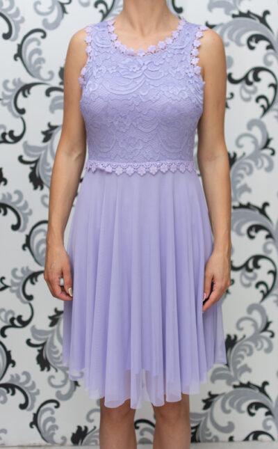 Дамска разкроена рокля с дантела - лилава 3