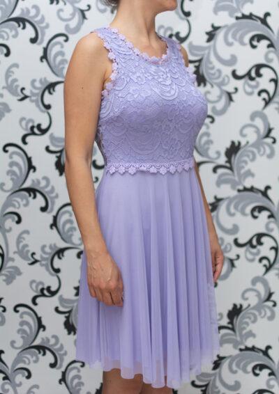 Дамска разкроена рокля с дантела - лилава 2