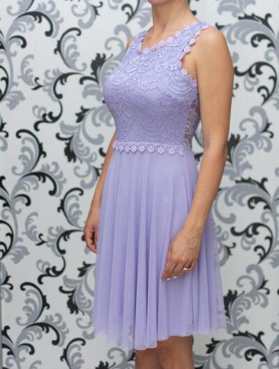 Дамска разкроена рокля с дантела - лилава 1