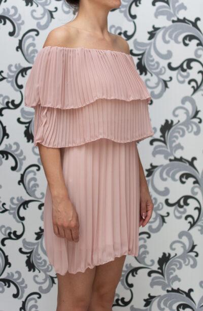 Дамска плисирана рокля - розова 2
