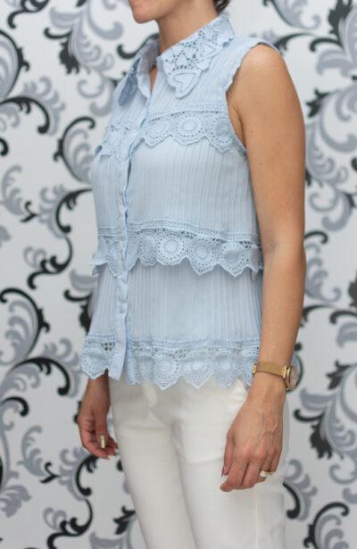 Светлосиня дамска блуза