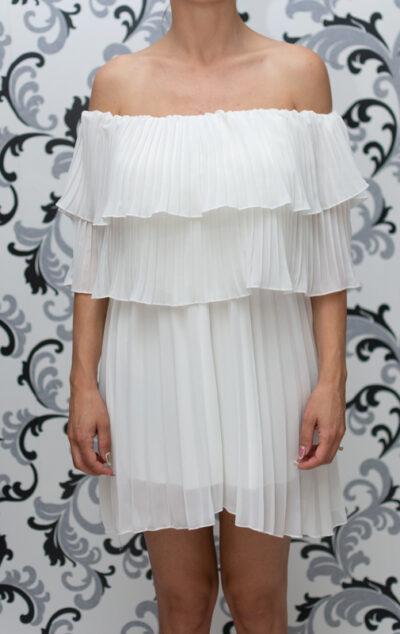 Дамска плисирана рокля - бяла 3