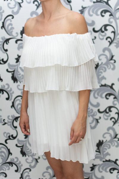 Дамска плисирана рокля - бяла 2