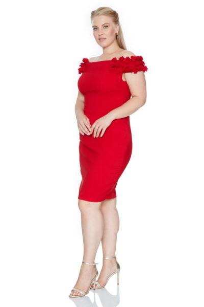 Червена дамска рокля - Fervente 4