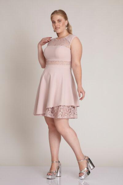 "Дамска рокля - Fervente - цвят ""пудра"" 1"
