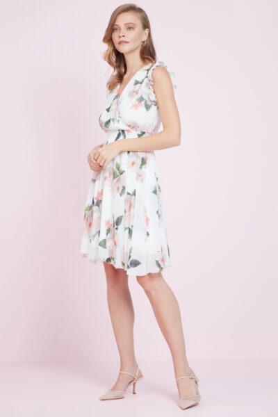 Бяла рокля с флорален принт - Fervente 1