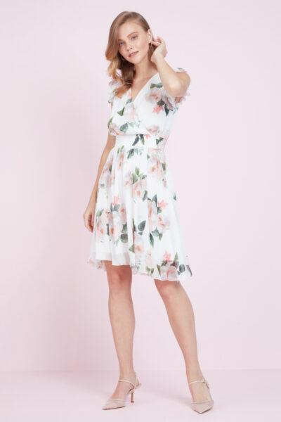 Бяла рокля с флорален принт - Fervente 4