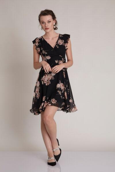 Черна рокля с флорален принт - Fervente 1