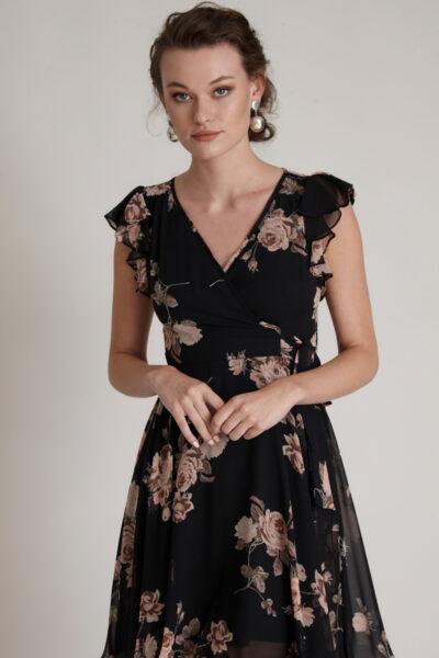 Черна рокля с флорален принт - Fervente 3
