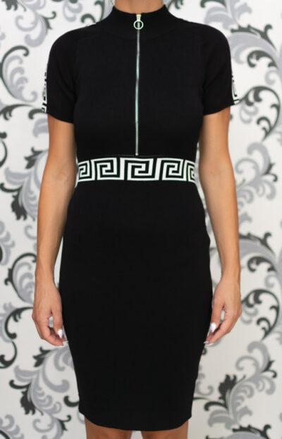 Черна плетена рокля с къс ръкав 3