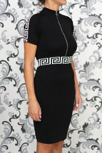 Черна плетена рокля с къс ръкав 2