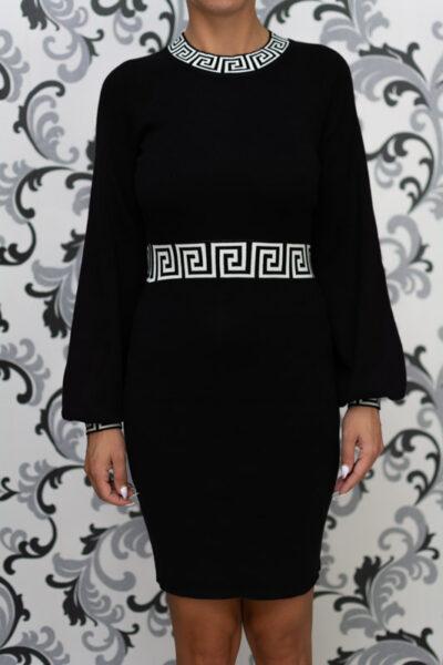 Черна дамска плетена рокля 1