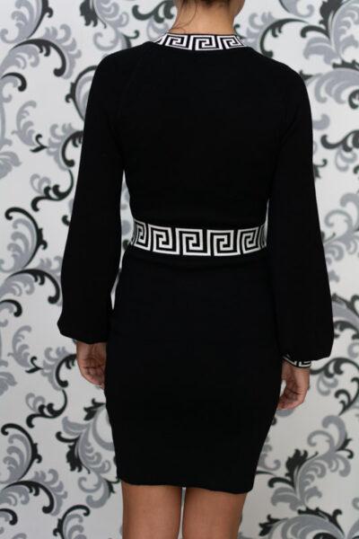 Черна дамска плетена рокля 4