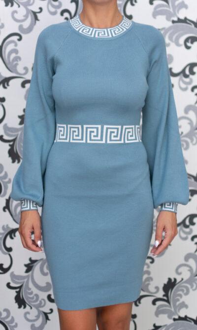 Синя плетена дамска рокля 2