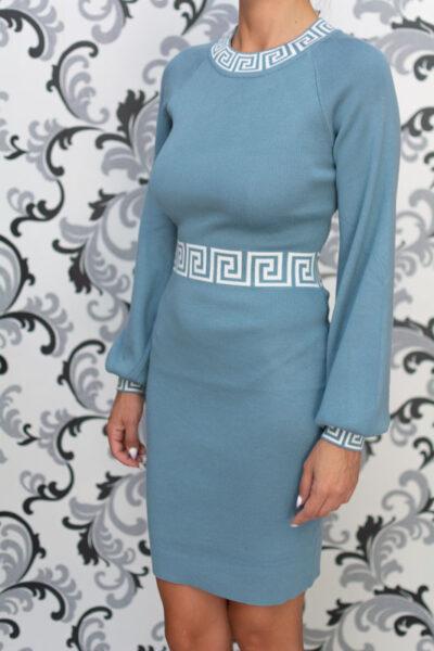 Синя плетена дамска рокля 1