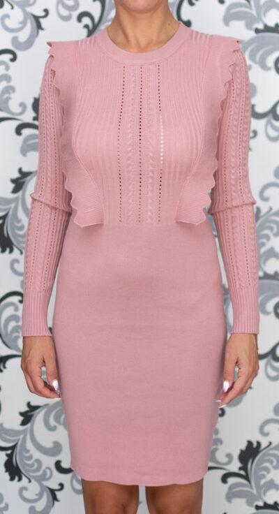 Розова плетена рокля 3