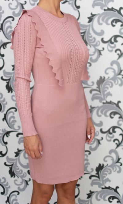 Розова плетена рокля 2