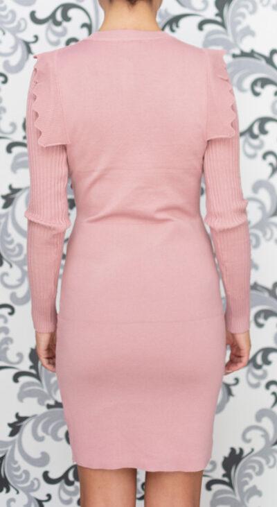 Розова плетена рокля 4