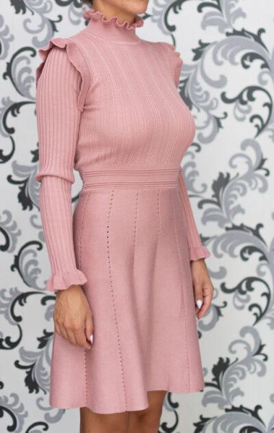 Розова плетена рокля - разкроена 4