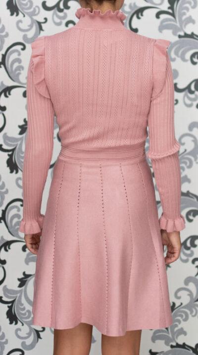 Розова плетена рокля - разкроена 3