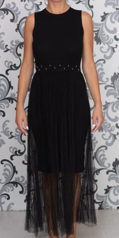 Черна дълга плетена рокля с тюл 4