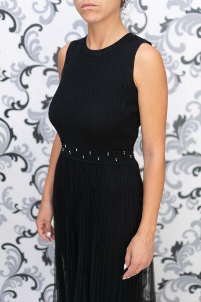 Черна дълга плетена рокля с тюл 5