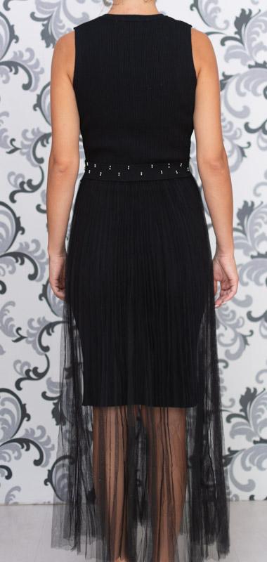 Черна дълга плетена рокля с тюл 2