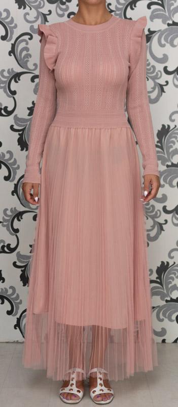 Розова дълга плетена рокля с тюл 4